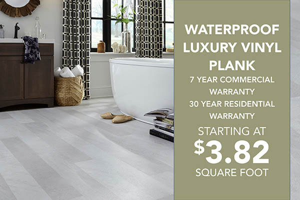 Waterproof luxury vinyl plank on sale staring at $3.82 sq. ft. 7 year commercial warranty and 30 year residential warranty