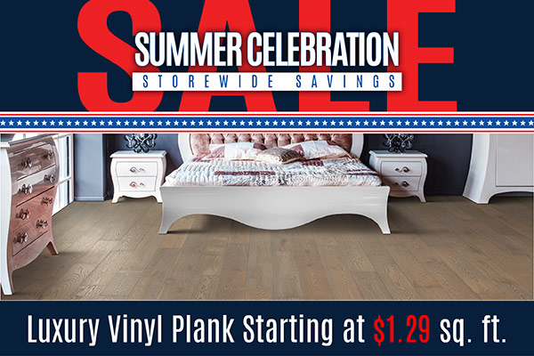 Luxury vinyl plank starting at $1.29 sq.ft. while supplies last at Floorco Design Center in OKC!